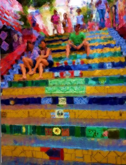 Escadaria Selaron in der Nähe von Lapa Rio de Janeiro
